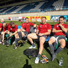 The Ireland players are pictured relaxing and putting on their boots before a hard session at the famous Dunedin ground