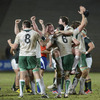 The Ireland Under-20 players are jubilant as they congratulate each other after a hard-earned victory over the tournament hosts