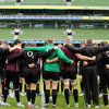 The Ireland players huddle together as they prepare for a mouth-watering showdown with Stuart Lancaster's England side