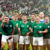 Cian Healy, Gordon D'Arcy and Brian O'Driscoll give the thumbs up following Ireland's 17th win over Italy in 20 Test meetings