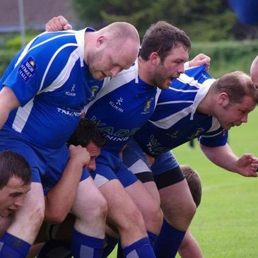 The Portadown front row scrum down