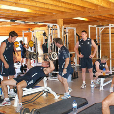 The Munster players work out in the Browns gym facility
