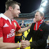 Actor Daniel Craig, who played for Hoylake RFC in north west England, greets Irish winger Tommy Bowe at ANZ Stadium