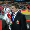 Brian O'Driscoll made sure his baby daughter Sadie, wearing her little Lions kit, enjoyed the celebrations at pitchside