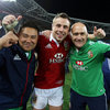 Tommy Bowe celebrates with physio Prav Mathema and Dr. Eanna Falvey, two of the men who helped him recover quickly from a broken bone in his hand