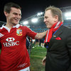 The Lions' Test series-winning out-half, Jonathan Sexton, has a few words with Daniel Craig as the victorious Lions leave the pitch