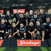 The victorious All Blacks celebrate their nine-try win over Ireland in their first international match of 2010