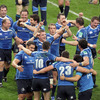 The Leinster players gather together to congratulate each other on a job well done. It is the fourth time an Irish province has won the Heineken Cup in the last six years