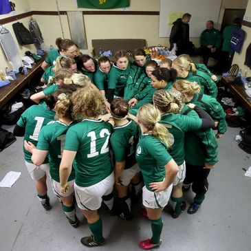 Fiona Coghlan issues a team talk in the dressing room