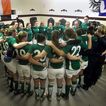 The Ireland players huddle together in the dressing room