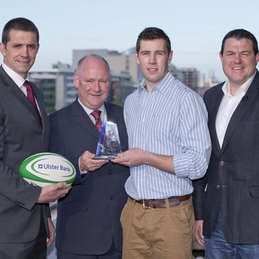 Alan Quinlan, Gerry Reynolds and Reggie Corrigan with Craig Ronaldson