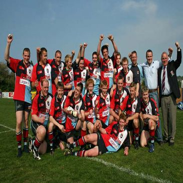 Belfast Harlequins celebrating their Ulster Senior League win