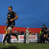 Quintin Geldenhuys, the South African-born Italian international, is pictured leading the Aironi Rugby team out for their first Magners League game