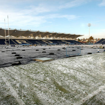 The RDS pitch with a protective covering over it