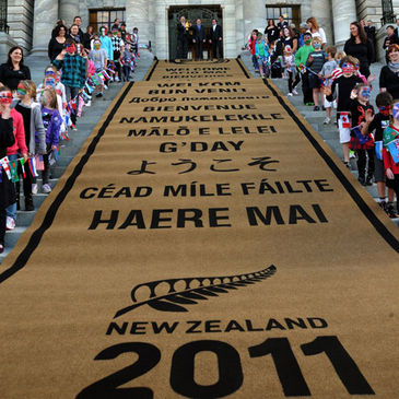 There was a giant welcome mat rolled out on the steps of New Zealand's Parliament