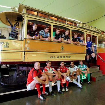The players at the recent league launch in Glasgow