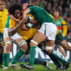 Australia number 8 Radike Samo has nowhere to go as Sean O'Brien and Donncha O'Callaghan double up on him in a tackle
