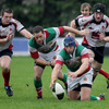 Bective's Polish recruit Rafal Sajur dives on a loose ball during a first half which ended 10-3 in Malone's favour
