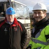 Ulster Rugby CEO Michael Reid has a word with one of the site workers near the Ravenhill redevelopment