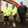 Ulster's Operations Director David Humphreys puts his shovel to work, alongside Damian Heron of Heron Brothers Ltd. and Ulster Rugby CEO Michael Reid