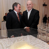 Former Republic of Ireland midfielder Ray Houghton shares a joke with Keith Wood as they take a closer look at the Aviva Stadium model
