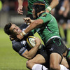 Connacht flanker Ray Ofisa halts the progress of Glasgow's tricky centre Max Evans