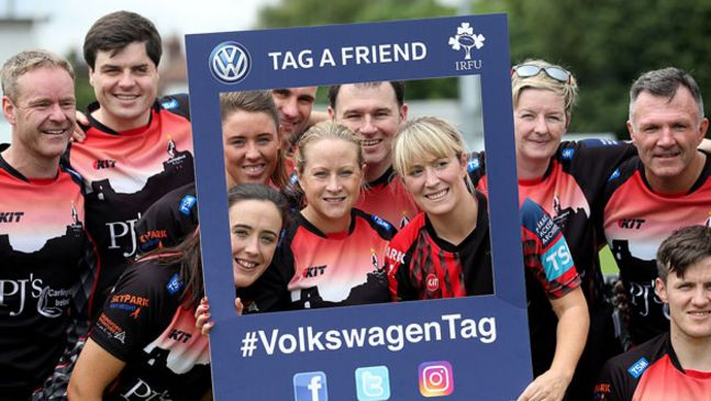 Carlingford Knights who play Volkswagen Tag at Belfast Harlequins RFC and Dundalk RFC at last year's All-Irelands