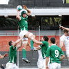 Ireland captain Rhys Ruddock is well supported as he secures lineout possession for his side in Rosario