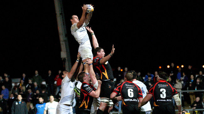 Rhys Ruddock wins a lineout against the Dragons