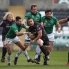 Ospreys scrum half Rhys Webb tries to break away from his opposite number, Connacht's Frank Murphy