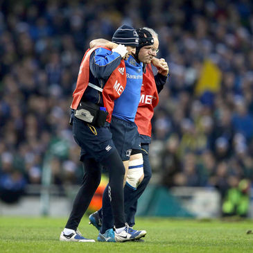 Leinster hooker Richardt Strauss has been helped off the pitch