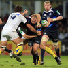 Leinster hooker Richardt Strauss gains ground for the visitors who remain top of Heineken Cup Pool 2