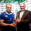Leinster hooker Richardt Strauss is presented with his man-of-the-match award by Heineken's Pat Maher
