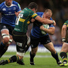 Leinster's nuggety hooker Richardt Strauss tries to shrug off a tackle from Saints' try-scoring flanker Phil Dowson
