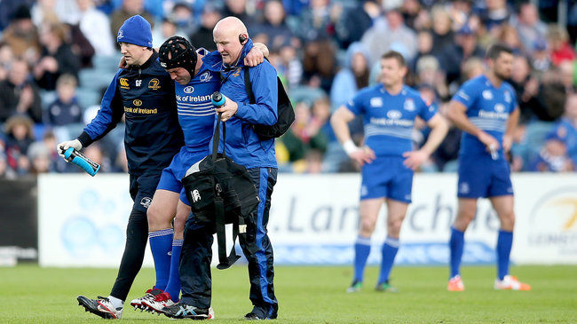Richardt Strauss is helped off the RDS pitch