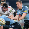 Cardiff Blues scrum half Richie Rees sends a pass out during the Ravenhill encounter