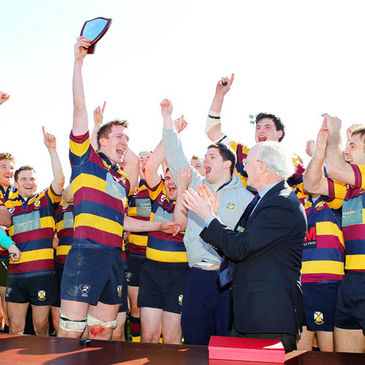 Skerries celebrate their qualification for the Ulster Bank League