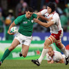 Russian flanker Andrey Garbuzov tries to stop Rob Kearney in his tracks, as the Ireland full-back spearheads a counter attack