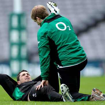 Rob Kearney with Ireland physio Brian Green
