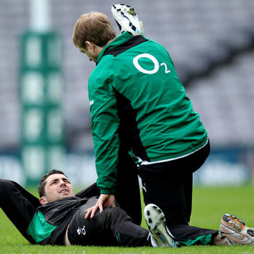 Ireland athletic trainer/physio Brian Green with Rob Kearney
