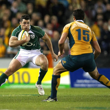 Rob Kearney takes on Australia's Cameron Shepherd