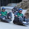 Rob Kearney tries to keep his balance as he chases his Leinster colleague Fergus McFadden on the luge track