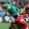 Leigh Halfpenny and Toby Faletau doubled up on Rob Kearney as he was brought down inside the Welsh 22