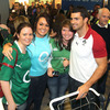 Pictured with some of the fans who were present in the arrivals hall, Rob Kearney said it was 'an amazing welcome' and 'really nice to be home, although we're two weeks early!'