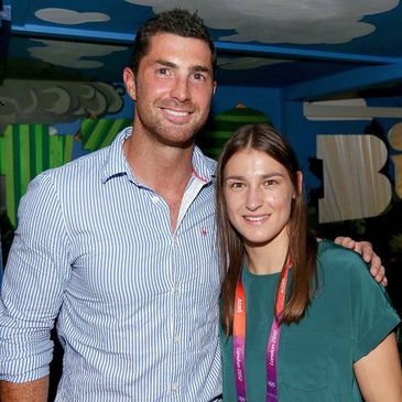 Rob Kearney with fellow nominee Katie Taylor