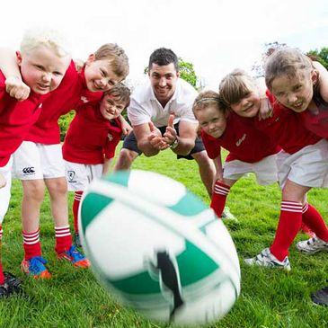 Rob Kearney with some future stars of Irish rugby