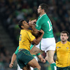 Rob Kearney enjoyed quite a duel with his opposite number Kurtley Beale. The Louth native is pictured beating the Australian full-back to a high ball