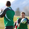 Rob Kearney, who is overcoming a groin injury, and Ronan O'Gara are pictured during today's light run-out in Queenstown