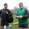 Leinster team-mates Rob Kearney and Sean Cronin share a joke as the squad assembles ahead of the RBS 6 Nations opener against Wales