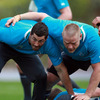 Rob Kearney and Tom Court join forces to protect ruck ball during part of today's training session in Auckland